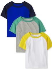 Pack de 3 camisetas raglán para bebés y niños pequeños