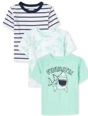 Pack de 3 camisetas de tiburón para bebés y niños pequeños
