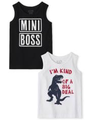 Pack de 2 camisetas sin mangas Boss Dino para bebés y niños pequeños