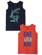 Baby And Toddler Boys Wild Shark Tank Top 2-Pack