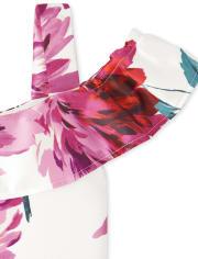 Girls Floral Off Shoulder Dress