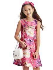 Vestido de niñas con lazo floral en la espalda