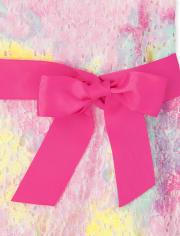 Girls Tie Dye Lace Cut Out Dress