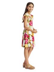 Vestido niña de jacquard elástico con volantes florales