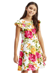 Girls Floral Ruffle Stretch Jacquard Dress