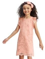 Vestido recto de encaje para niñas