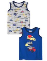 Pack de 2 camisetas sin mangas Trucks para bebés y niños pequeños