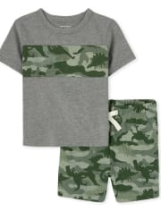 Baby And Toddler Boys Dino Camo Outfit Set