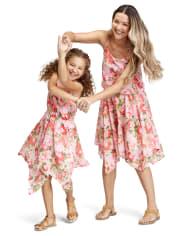 Girls Mommy And Me Floral Sharkbite Hem Dress