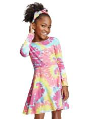 Vestido skater con efecto tie dye para niñas