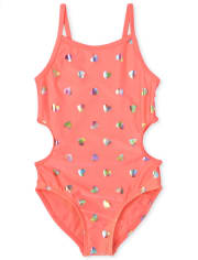 Girls Foil Hearts Cut Out One Piece Swimsuit