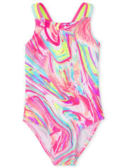 Girls Marble One Piece Swimsuit