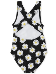 Girls Daisy Cut Out One Piece Swimsuit