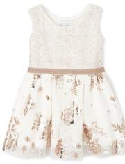 Toddler Girls Foil Rose Gold Knit To Woven Dress