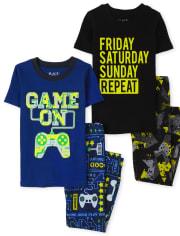 Boys Glow Video Game Weekend Snug Fit Cotton 4-Piece Pajamas