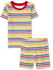 Unisex Kids Matching Family Striped Snug Fit Cotton Pajamas