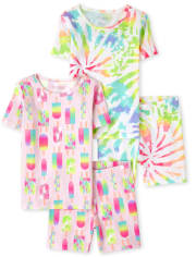 Girls Tie Dye Snug Fit Cotton Pajamas 2-Pack
