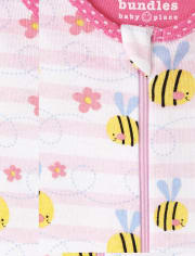 Baby And Toddler Girls Daisy Bee Snug Fit Cotton One Piece Pajamas 2-Pack