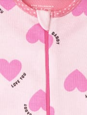 The Childrens Place Baby and Toddler Girls Family Heart Snug Fit Cotton One Piece Pajamas