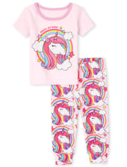 Baby And Toddler Girls Unicorn Rainbow Snug Fit Cotton Pajamas