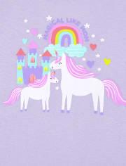 Baby And Toddler Girls Glow Magical Unicorn Snug Fit Cotton Pajamas