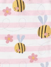 Baby And Toddler Girls Bee Striped Snug Fit Cotton Pajamas