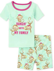 Baby And Toddler Girls Monkey Family Snug Fit Cotton Pajamas