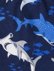Baby And Toddler Boys Glow Shark Snug Fit Cotton 4-Piece Pajamas