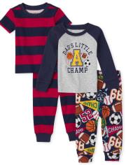 Baby And Toddler Boys Sports Snug Fit Cotton Pajamas 2-Pack