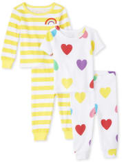 Baby And Toddler Girls Rainbow Heart Snug Fit Cotton 4-Piece Pajamas