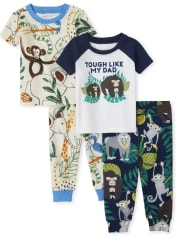 Baby And Toddler Boys Animals Snug Fit Cotton Pajamas 2-Pack