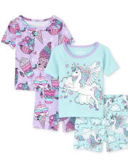 Baby And Toddler Girls Unicorn Squishies Snug Fit Cotton Pajamas 2-Pack