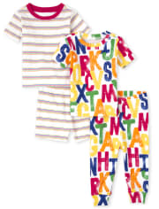 Unisex Baby And Toddler ABC Snug Fit Cotton Pajamas 2-Pack