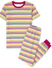 Unisex Adult Matching Family Striped Cotton Pajamas