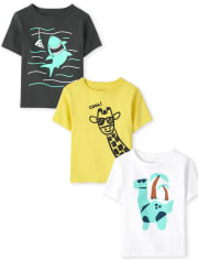 Baby And Toddler Boys Animal Graphic Tee 3-Pack