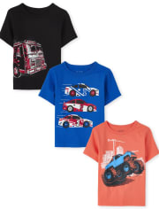Baby And Toddler Boys Transportation Graphic Tee 3-Pack