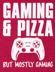 Boys Gaming And Pizza Graphic Tee