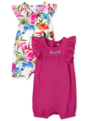 Baby Girls Floral Ruffle Romper 2-Pack