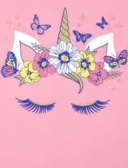 Girls Floral Unicorn Graphic Tee