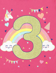 Baby And Toddler Girls Birthday 3 Graphic Tee