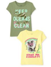 Girls Turtles And Koalas Graphic Tee 2-Pack