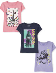 Girls City Graphic Tee 3-Pack