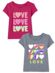 Baby And Toddler Girls Love Graphic Tee 2-Pack