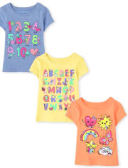 Baby And Toddler Girls Education Graphic Tee 3-Pack