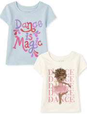 Baby And Toddler Girls Dance Graphic Tee 2-Pack