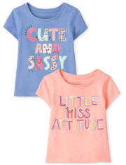 Baby And Toddler Girls Sassy Graphic Tee 2-Pack