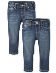 Paquete de 2 jeans ajustados básicos para niñas pequeñas