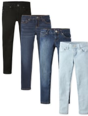 Girls Basic Super Skinny Jeans 4-Pack
