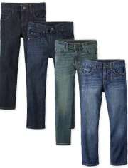 4-Pack The Childrens Place Boys Basic Straight Jeans (Size 4 to 18)