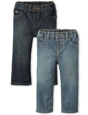 Paquete de 2 jeans bootcut básicos para bebés y niños pequeños